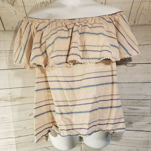 Lane Bryant Peach Striped Plus Size Top
